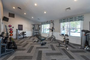 Fitness center with bright windows