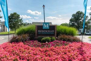 Blue sign that says Monticello at Powhatan