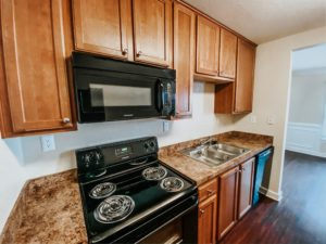 stove and sink in a townhome