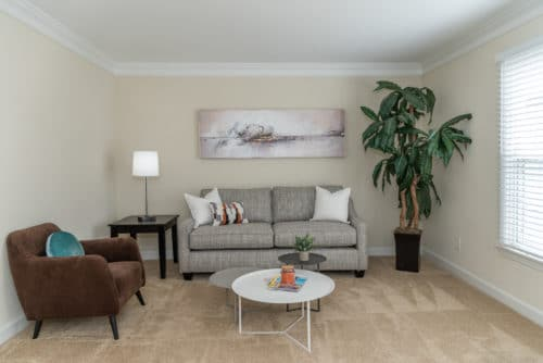 grey couch in living room at walkers chase townhomes